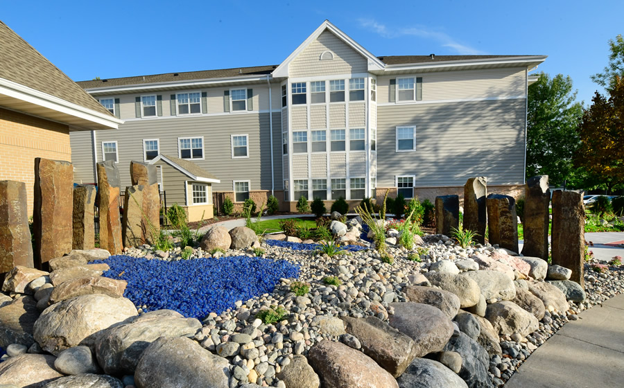 A photo of the exterior of Wheatland Terrace at Valley Senior Living.